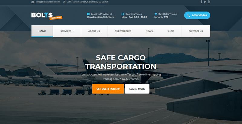 Bolts theme wordpress creer site web transport logistics