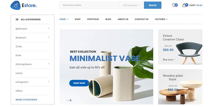 créer un site Web - Estore woocommerce theme