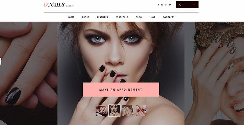 O'nails themes wordpress creer site web salon coiffure spa beaute