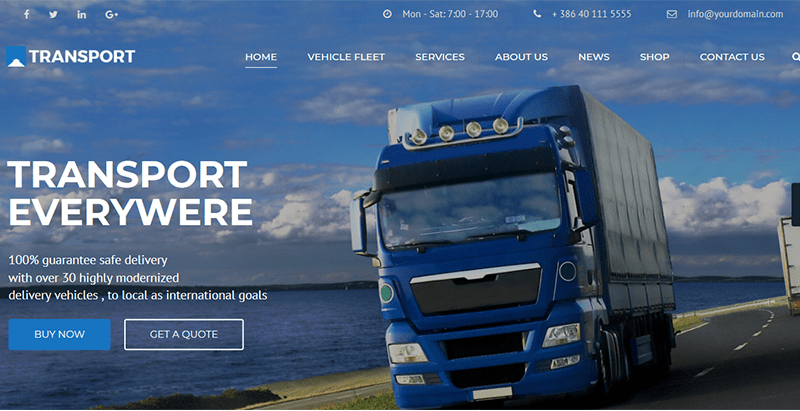 Transport theme wordpress creer site web transport logistics