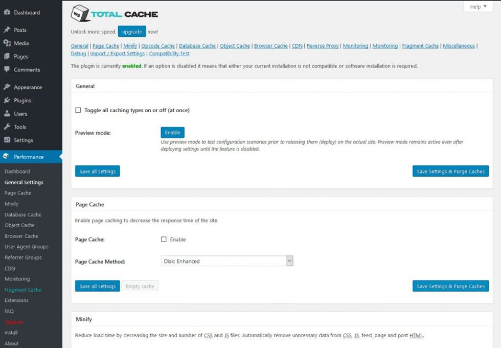 W3 total cache page de configuration
