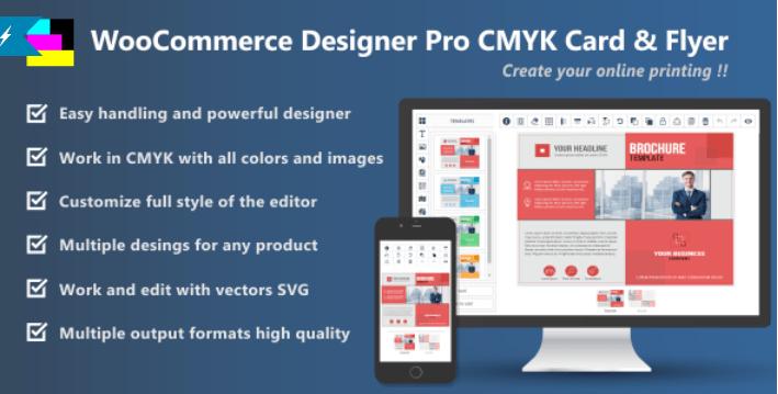 Woocommerce designer pro cmyk card flyer