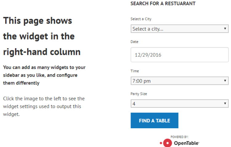 Best wordpress restaurant plugins open table widget