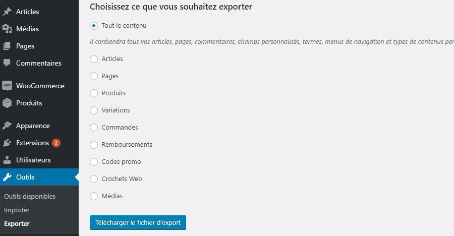 Exporter le contenu wordpress
