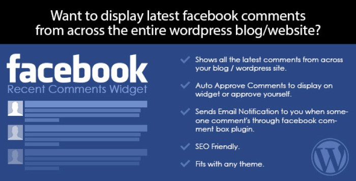 Facebook recent comments wordpress widget plugin wordpress pour commentaires facebook
