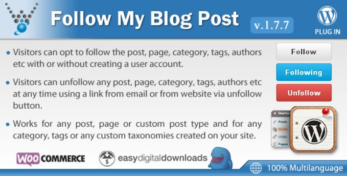 Follow my blog post plugin wordpress pour auteur