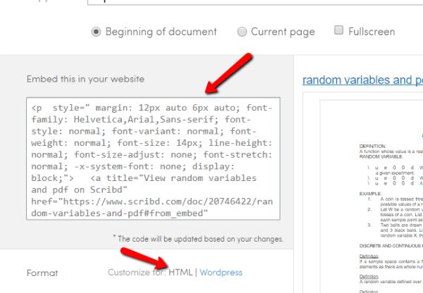 Intégration de document html scribd