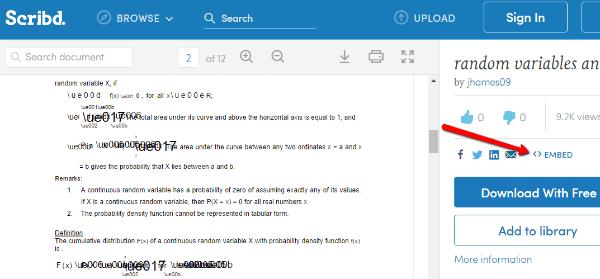 Intégration dun pdf de scribd