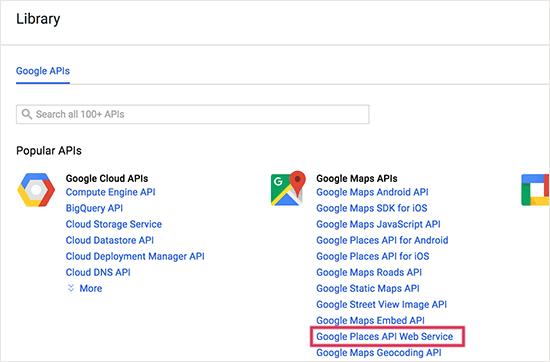 Liste des clé api google