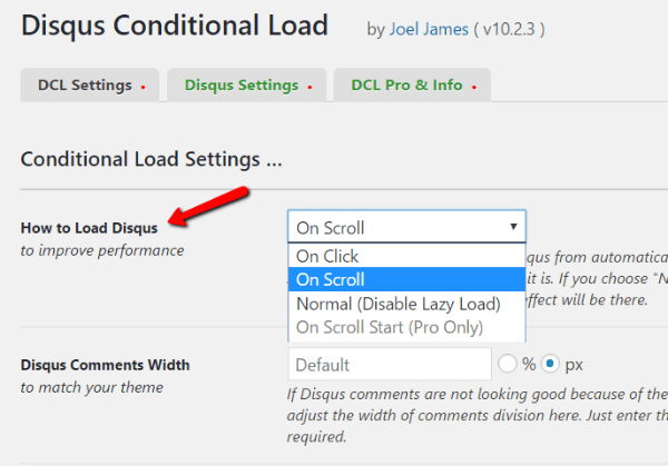 Option disqus wordpress lazy load