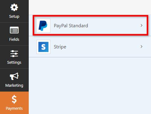 Option paypal passerelle de paiement wpforms