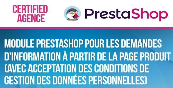 Product query module with protection data law plugin prestashop pour fiche produit