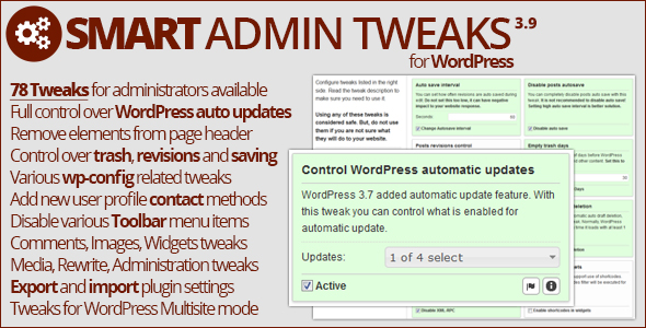 Smart admin tweaks plugin wordpress pour tweak