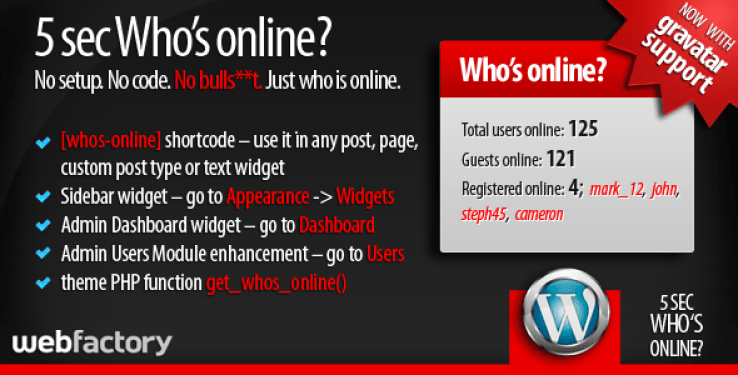 5sec whos online plugin wordpress pour tableau bord