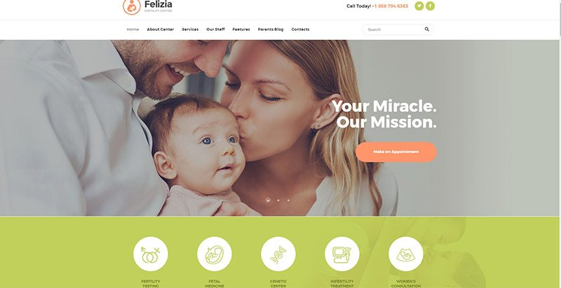 Felizia themes wordpress creer site web centre sante hopital clinique