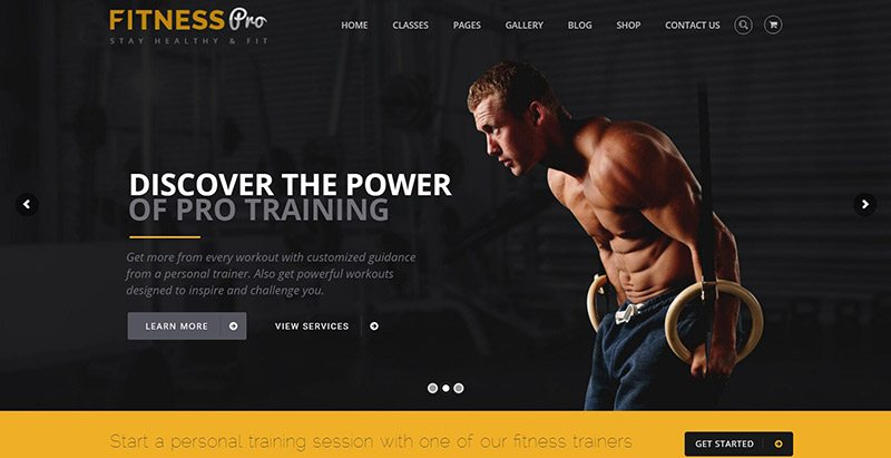 Fitnesspro themes wordpress creer site web club fitness salle gym