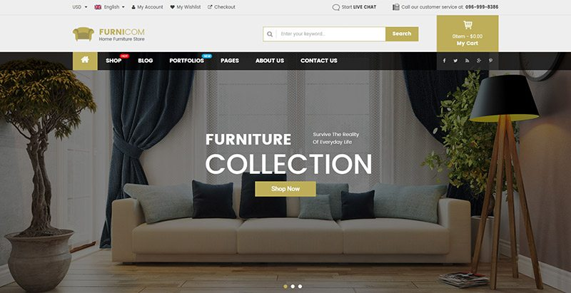 Furnicom themes wordpress creer site vente de meubles ecommerce
