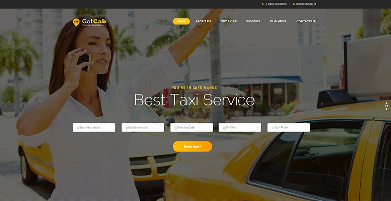 Getcab themes wordpress creer site web compagnie taxi transport