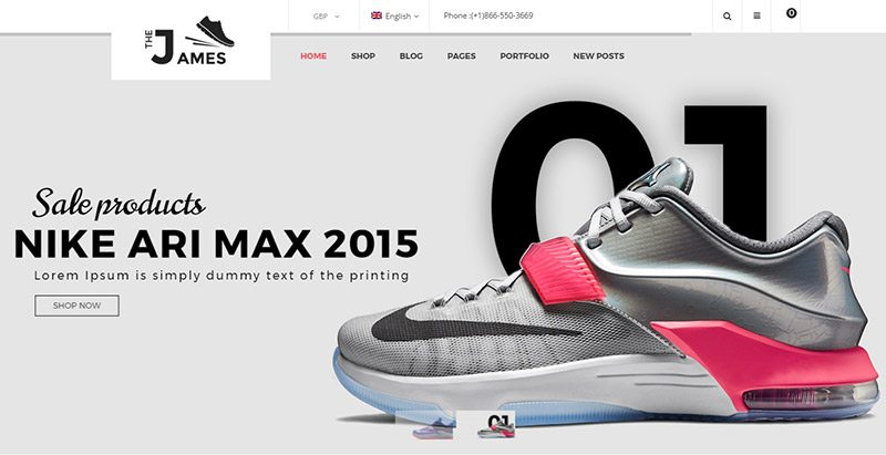 James themes wordpress creer site ecommerce vente chaussures
