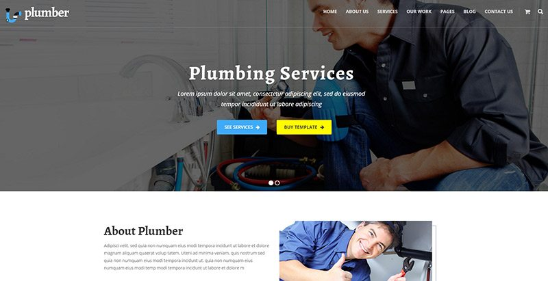 Plumber pro themes wordpress creer site web plombier plomberie