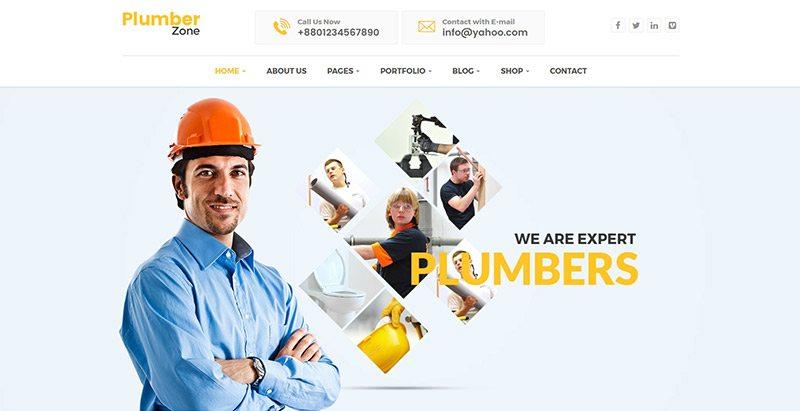meilleurs thèmes WordPress de plombier  - Plumber zone themes wordpress creer site web plombier plomberie