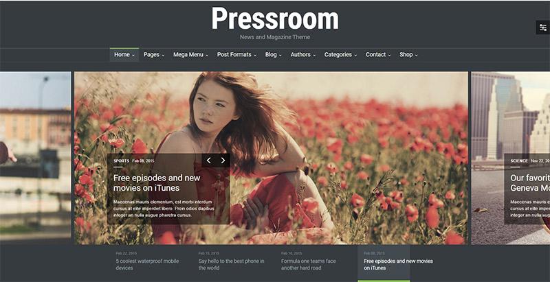 Pressroom 10 thèmes wordpress au style sombre pour créer un site web