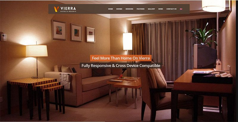 Vierra themes wordpress creer site web auberge motel hotel