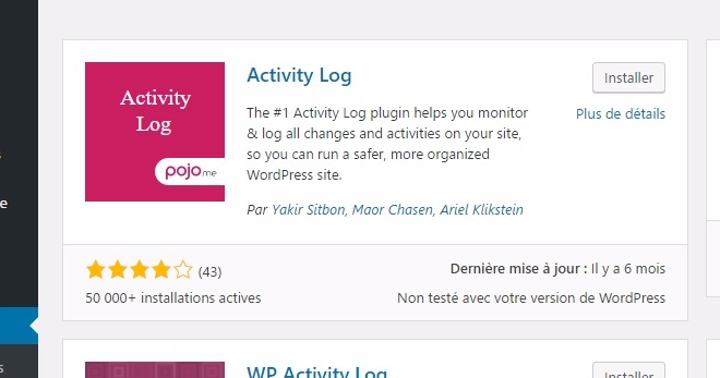 Activity log installation plugin