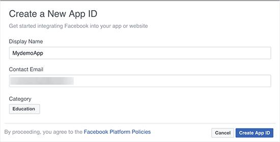 Créer une nouvelle application facebook