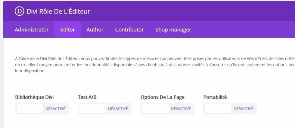 Desactivation des actions de haut niveau divi wordpress