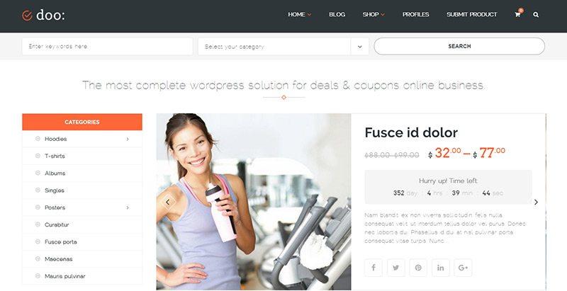 Doo themes wordpress creer site marketplace ecommerce
