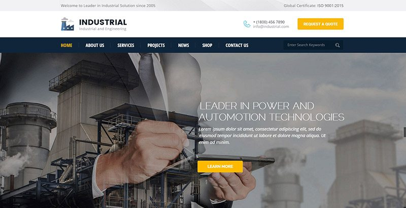 Industrial themes wordpress creer site web entreprise manufacturiere 1