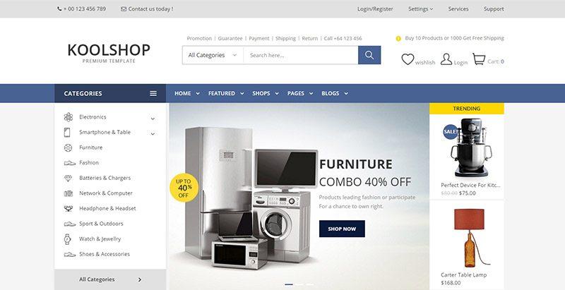 Koolshop themes wordpress creer site ecommerce multi vendeurs boutique en ligne