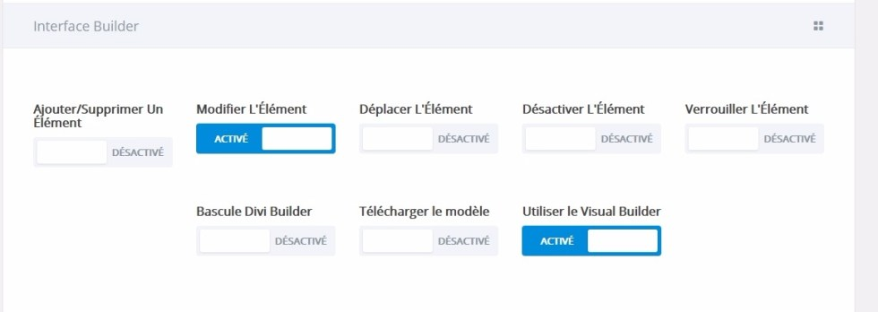 Options divi modification de linterface builder