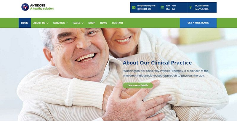 Antidote themes wordpress creer site web etablissement sanitaire hopital clinique
