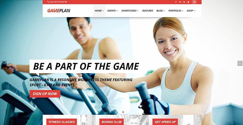 Gameplan themes wordpress site web club fitness gym