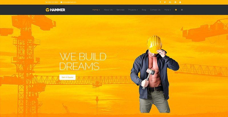 Hammer themes wordpress creer site web renovation construction btp
