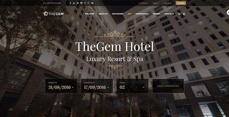 Thegem themes wordpress creer site web hotel motel restauration evenement