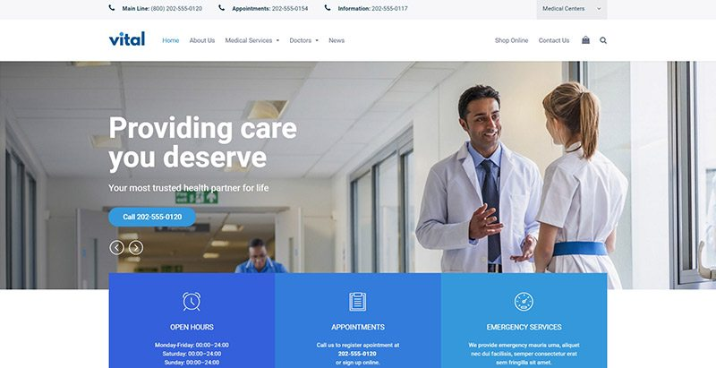 Vital themes wordpress creer site web etablissement sanitaire hopital clinique