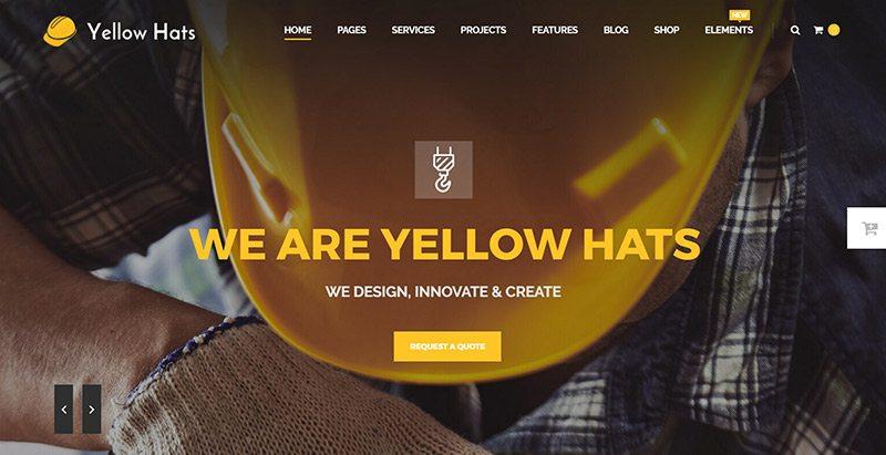 Yellow Hats Themes Wordpress Creer Site Web Renovation Construction Btp