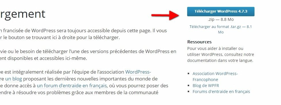 Télécharger wordpress