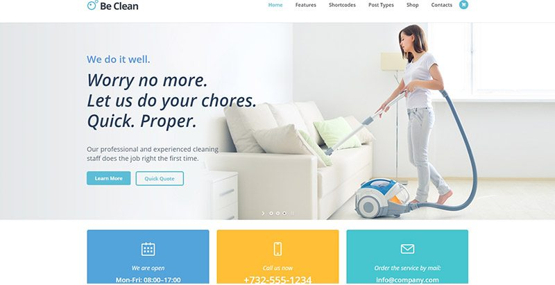 Be clean themes wordpress creer site web entreprise nettoyage technicien surface
