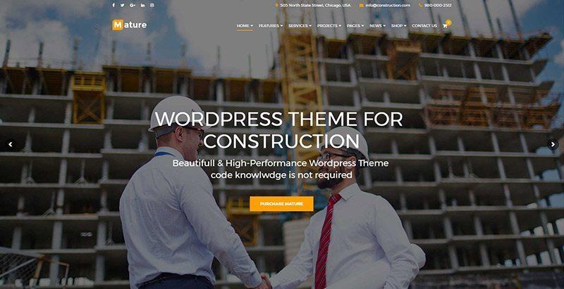 Construction themes wordpress creer site web entreprise renovation construction reparation