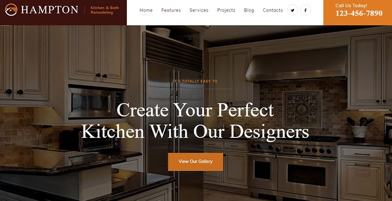 Hampton themes wordpress creer site web entreprise renovation construction reparation