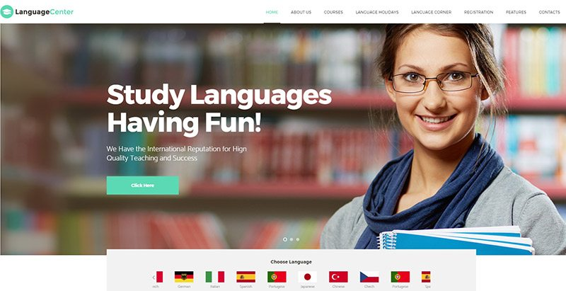 Language center themes wordpress creer site web e learning formation universite ecole college