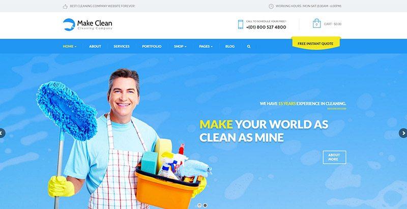 Temas de WordPress para crear un sitio web de negocios de limpieza ...