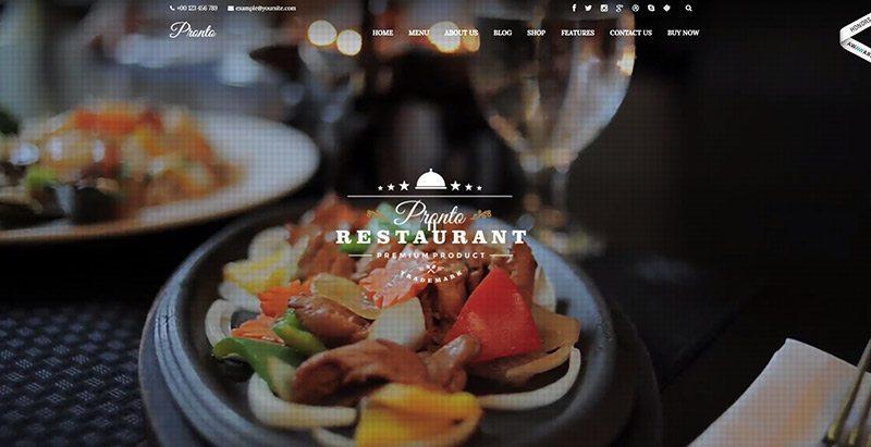 Pronto themes wordpress creer site web restaurant cafe traiteur