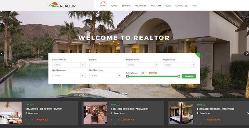 Realtor themes wordpress creer site web vente appartement villa maison