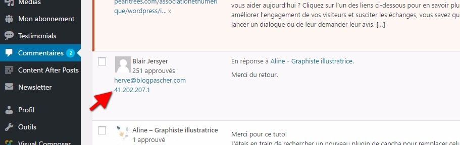 Adresse ip tableau de bord wordpress