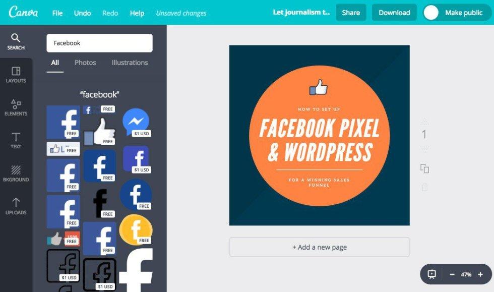Ajouter une icone facebook tutoriel canva